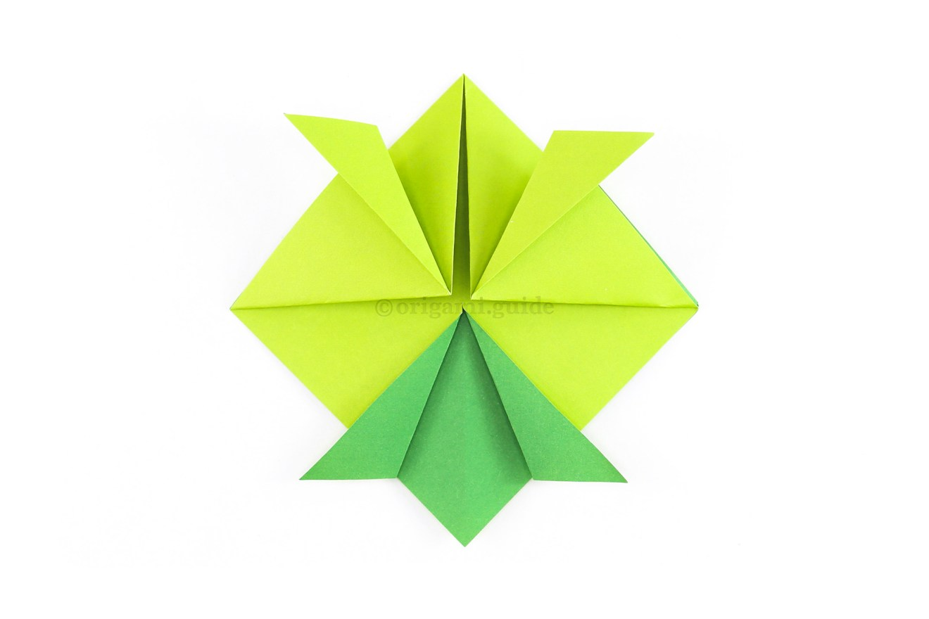 Fold the two flaps outward to match the ones at the top.