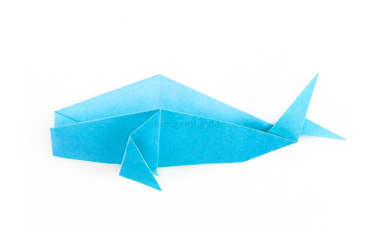 Now finally fold the whale back in half, now the tail is more like a dolphin or fish tail.