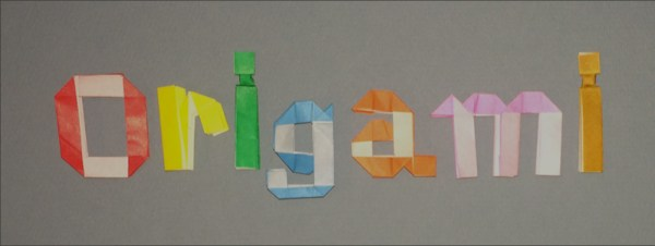 Nakashima's letters and numbers spelling Origami
