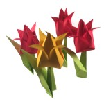 Bunch of traditional origami tulips