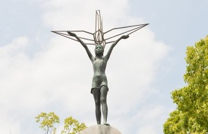Statue of Sadako on the International Children's Memorial Statue