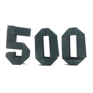 Number 500 made using Nakashima's origami letters and numbers