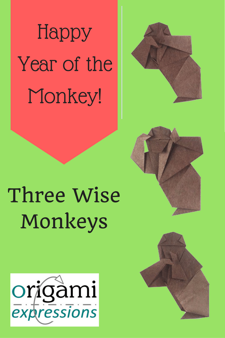 A page about the Three Wise Monkeys origami model, designed by Ignacio Smith based on Kuniko Kasahara's design. A celebration of the Chinese New Year.