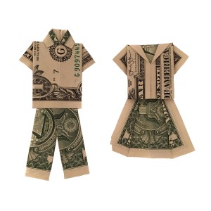 "His and Hers Money Origami Clothes ""Money Origami Clothes"" origamiexpressions.com"