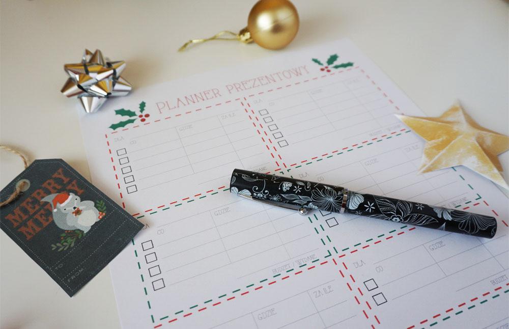 Świąteczny planner prezentowy do druku