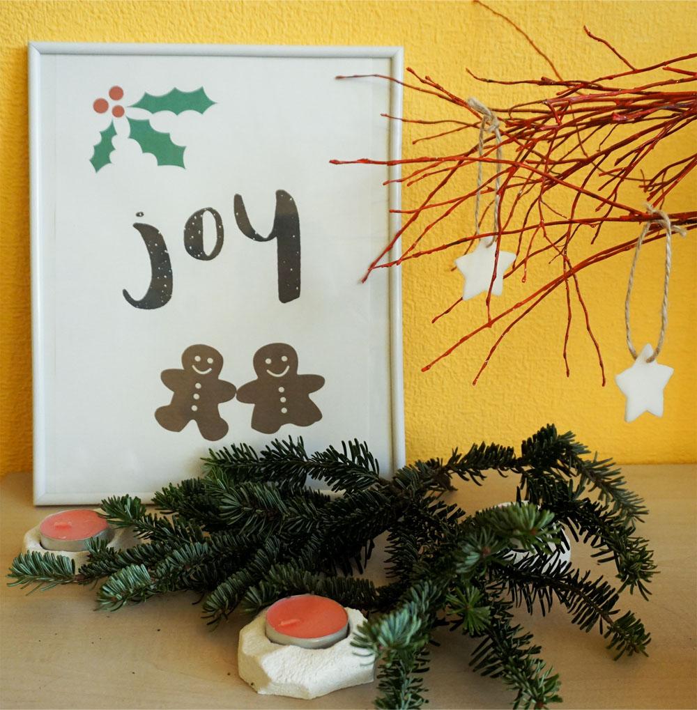 Zimowe plakaty do druku Joy