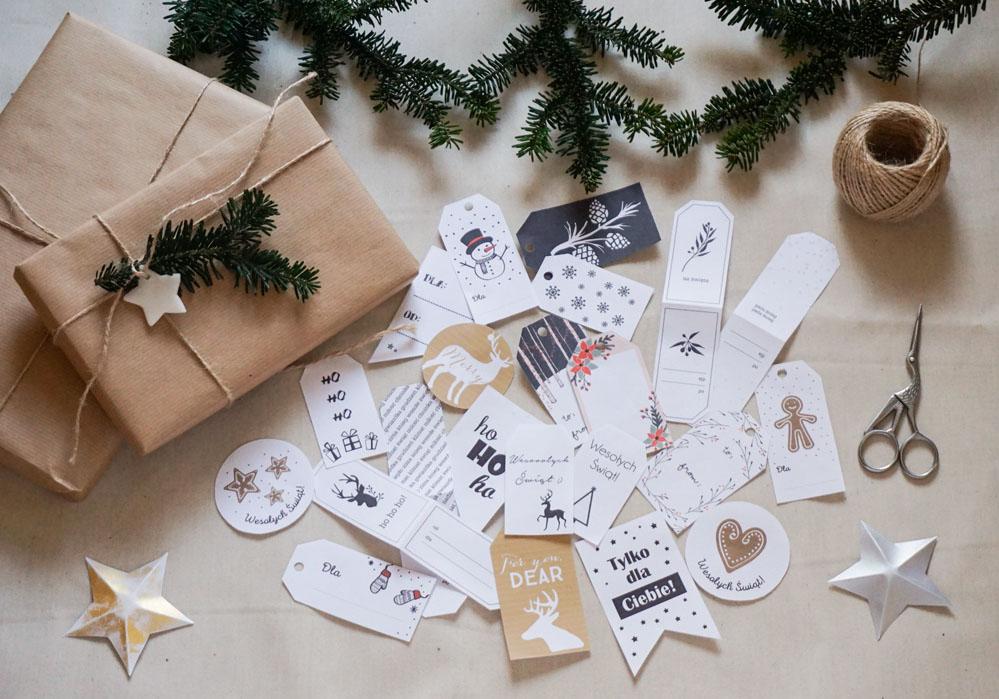 Pakowanie prezentów w szary papier - pomysły i inspiracje, bileciki/ etykiety do prezentów, gift tags