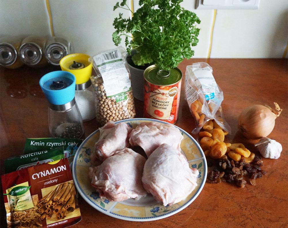 Przepis Udka z kurczaka z sosem morelowym i ciecierzycą