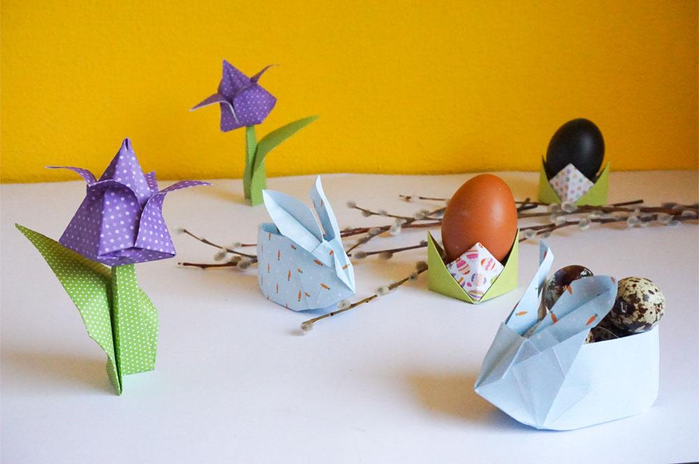 Wielkanocne origami - Zajączek z koszykiem, tulipan, podstawka pod jajko
