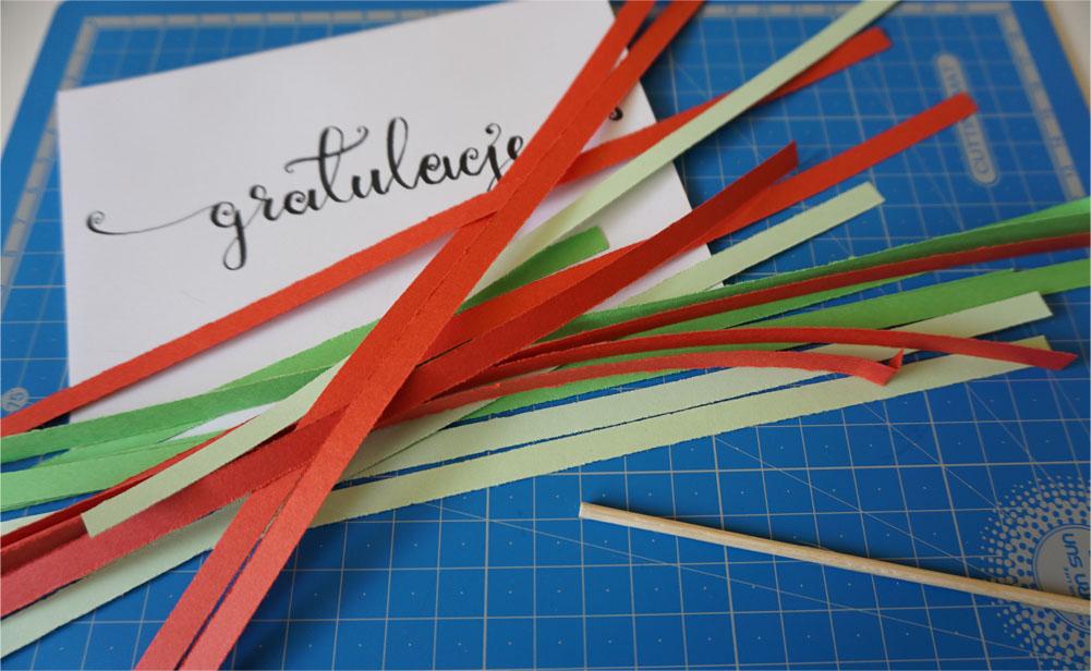 Prosta handmade kartka ślubna - quilling