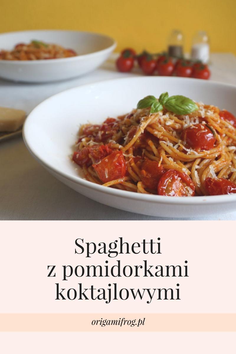 Przepis na spaghetti z pomidorkami koktajlowymi, bazylią i parmezanem