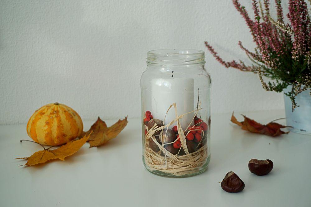 DIY Proste jesienne świeczniki - jesienne skarby