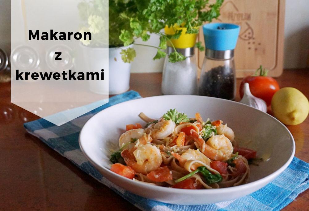 Przepis na Makaron z krewetkami, szpinakiem i pomidorami w maślano-czosnkowym sosie