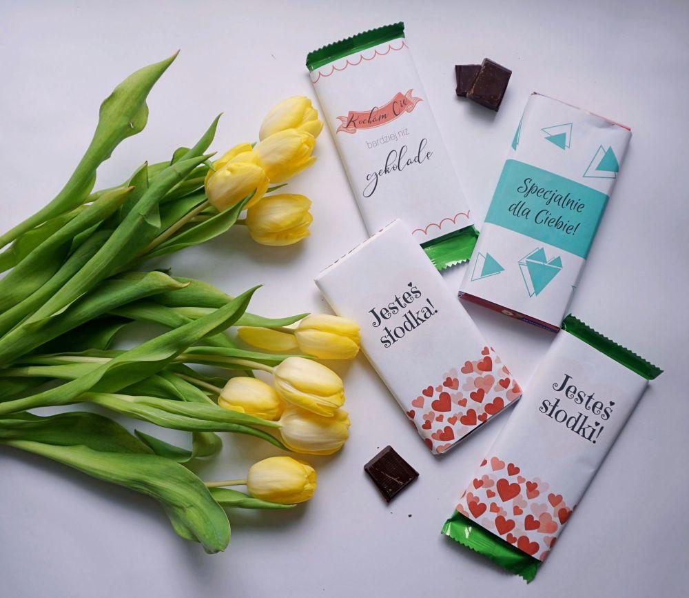 DIY etykiety na czekoladę do druku na Walentynki