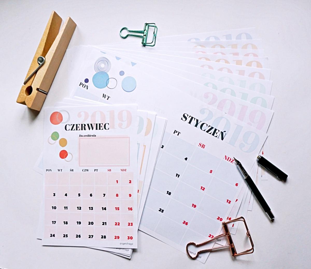 Kalendarz 2019 do wydruku