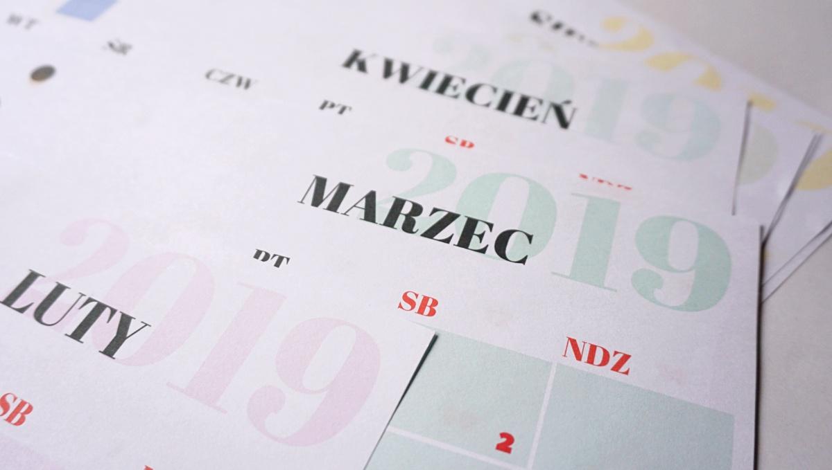 Kalendarz 2019 do druku kolorowy Luty Marzec Kwiecień