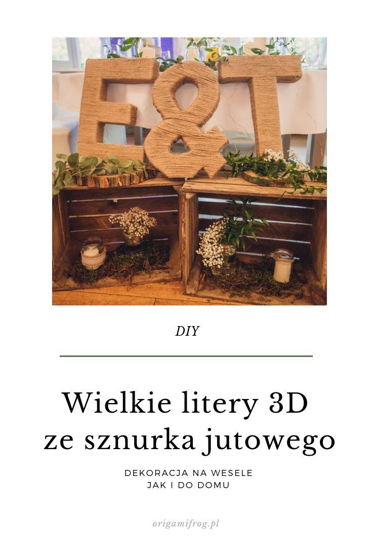 DIY Wielkie litery 3D ze sznurka jutowego
