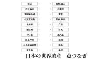 『日本の世界遺産 点つなぎ』|キッズの無料学習プリント素材