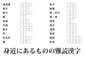 『身近にあるものの難しい漢字の読み方』