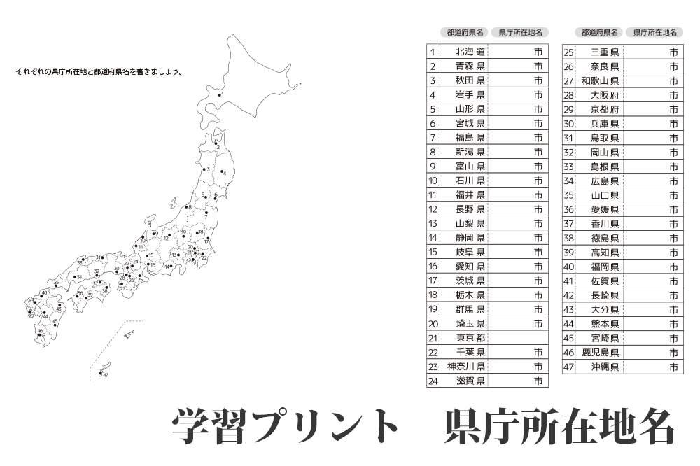 全部知ってる?『都道府県庁所在地』の学習&テスト問題