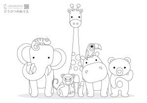 動物の簡単塗り絵《幼児子供向け》 無料ダウンロード・印刷