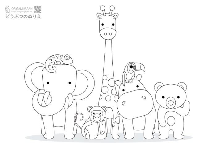 動物の簡単塗り絵幼児子供向け無料ダウンロード印刷 折り紙japan