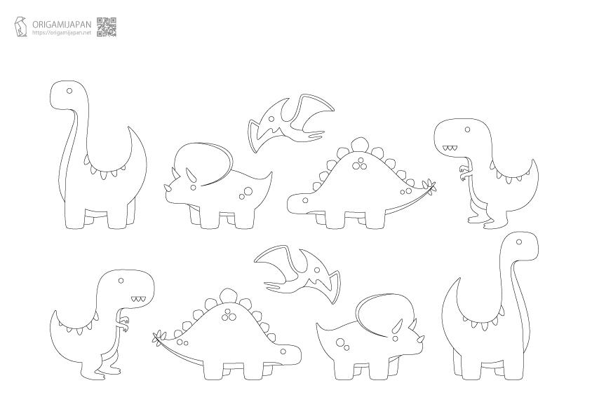 キュートな恐竜の塗り絵《幼児子供向け》 無料ダウンロード・印刷