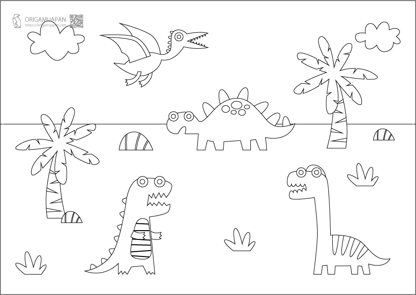 かわいい恐竜の塗り絵《幼児子供向け》|無料ダウンロード・印刷