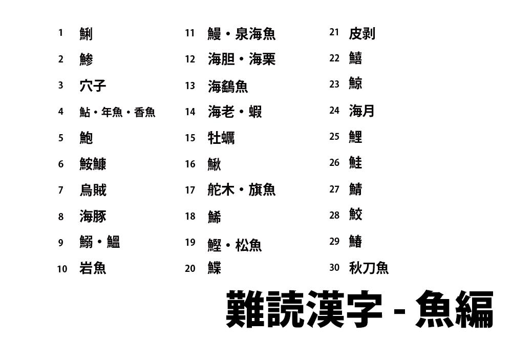 魚の難読漢字一覧と無料クイズ プリント 高齢者の脳トレ レクリエーション Origamiシニア