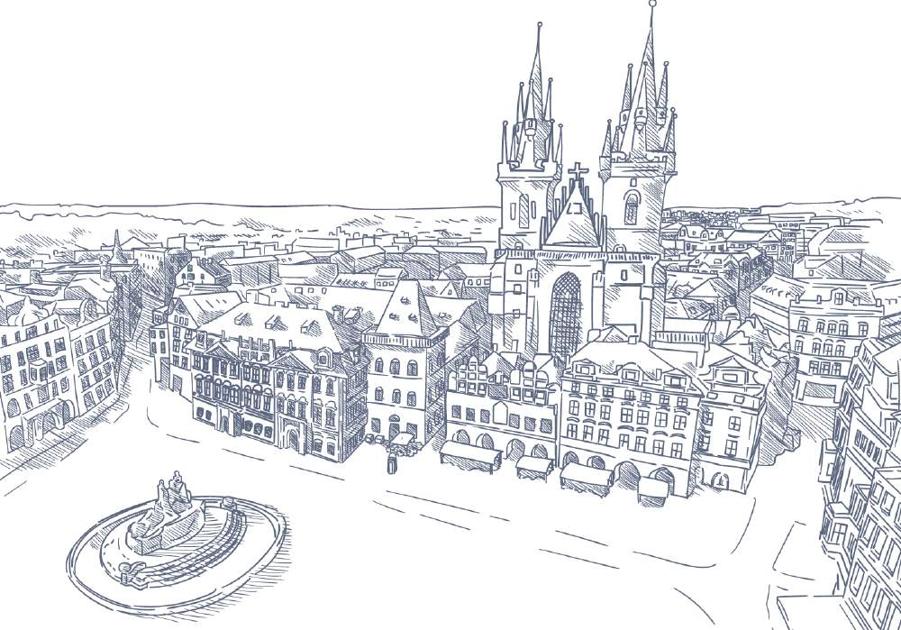 『大人の塗り絵 - プラハの町並み』- 無料プリント