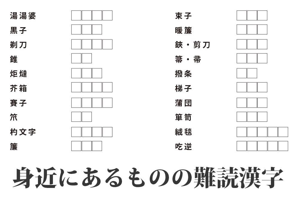 難読 漢字 クイズ
