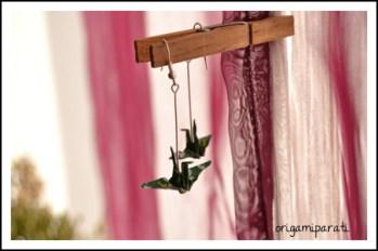 Pendientes de grullas verdes pequeñas II