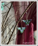 Pendientes de mariposas verdes grandes
