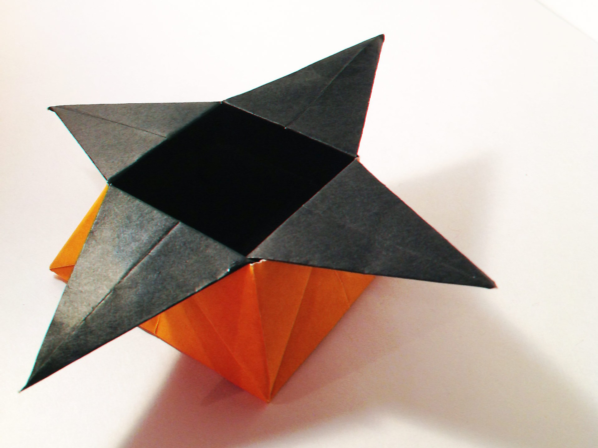 Orange and Black Star Shaped Origami Box by Carrie Gates