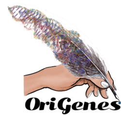 Origenes Logo, feather pen made of DNA
