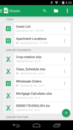 Google Sheets Screenshots - Original APK (3)