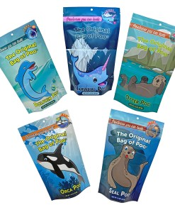 Aquarium Variety Pack includes the Dolphin Poo, Narwhal Poo, Orca Poo, Otter Poo and the Sea Lion Poo. Each bag of Cotton candy has unique flavors and colors.