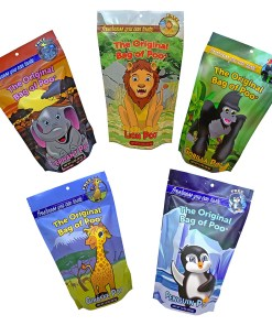 Zoo Cotton Candy Variety Pack includes 5 bags of unique characters. You'll get the elephant poo, giraffe poo, gorilla poo, lion poo and penguin poo. Each has a unique color and flavor.