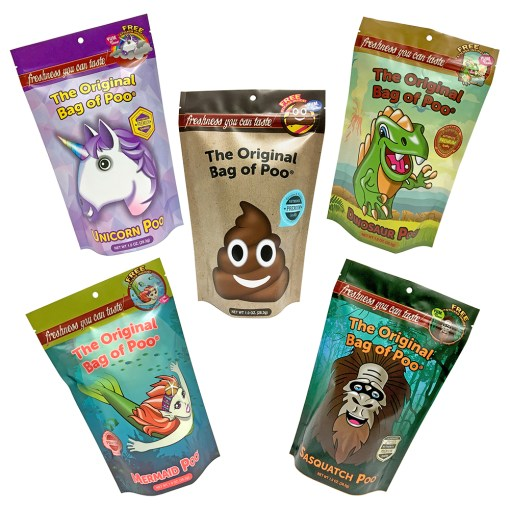 Original Variety Pack - The original Bag of Poo's first products include the original bag of poo. Its the poo emoji with a unique brown cotton candy one of a kind! It also includes the extinct dino poo, mystical mermaid poo, legendary sasquatch poo and the mythical unicorn poo.