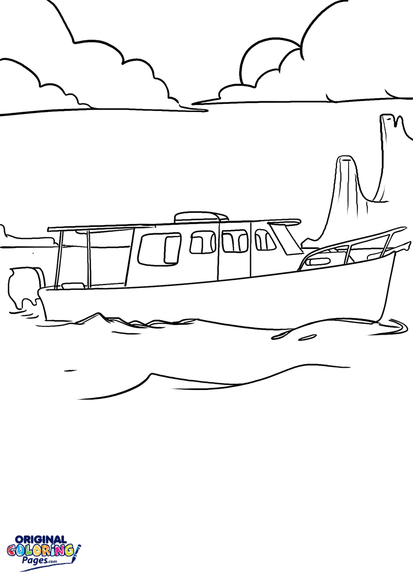 Fishing Boat Coloring Page Coloring Pages Original Coloring Pages