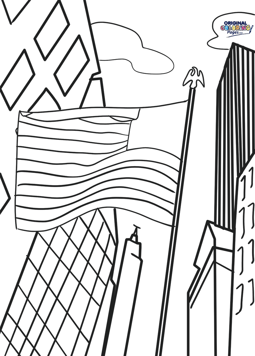American Flag Pole Coloring Page