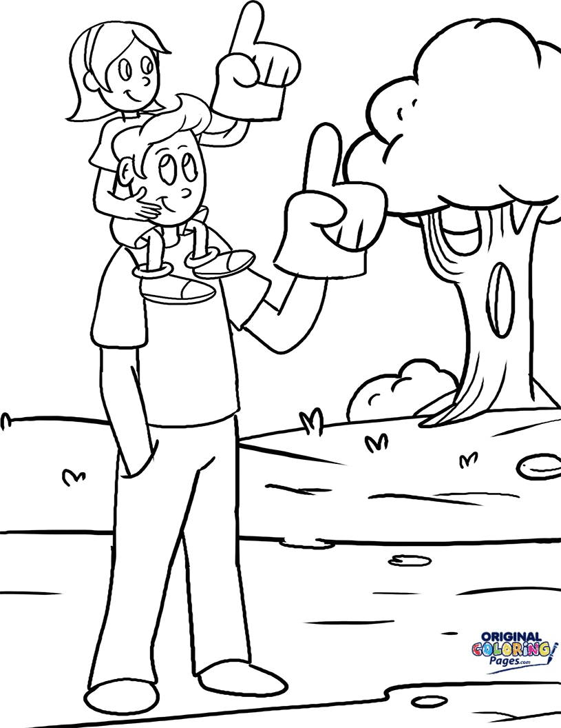 Fathers Day with Daughter Coloring Page