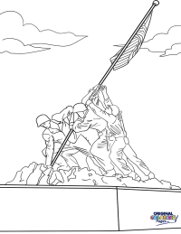 Raising the Flag on Iwo Jima Veterans Day Coloring Page ...