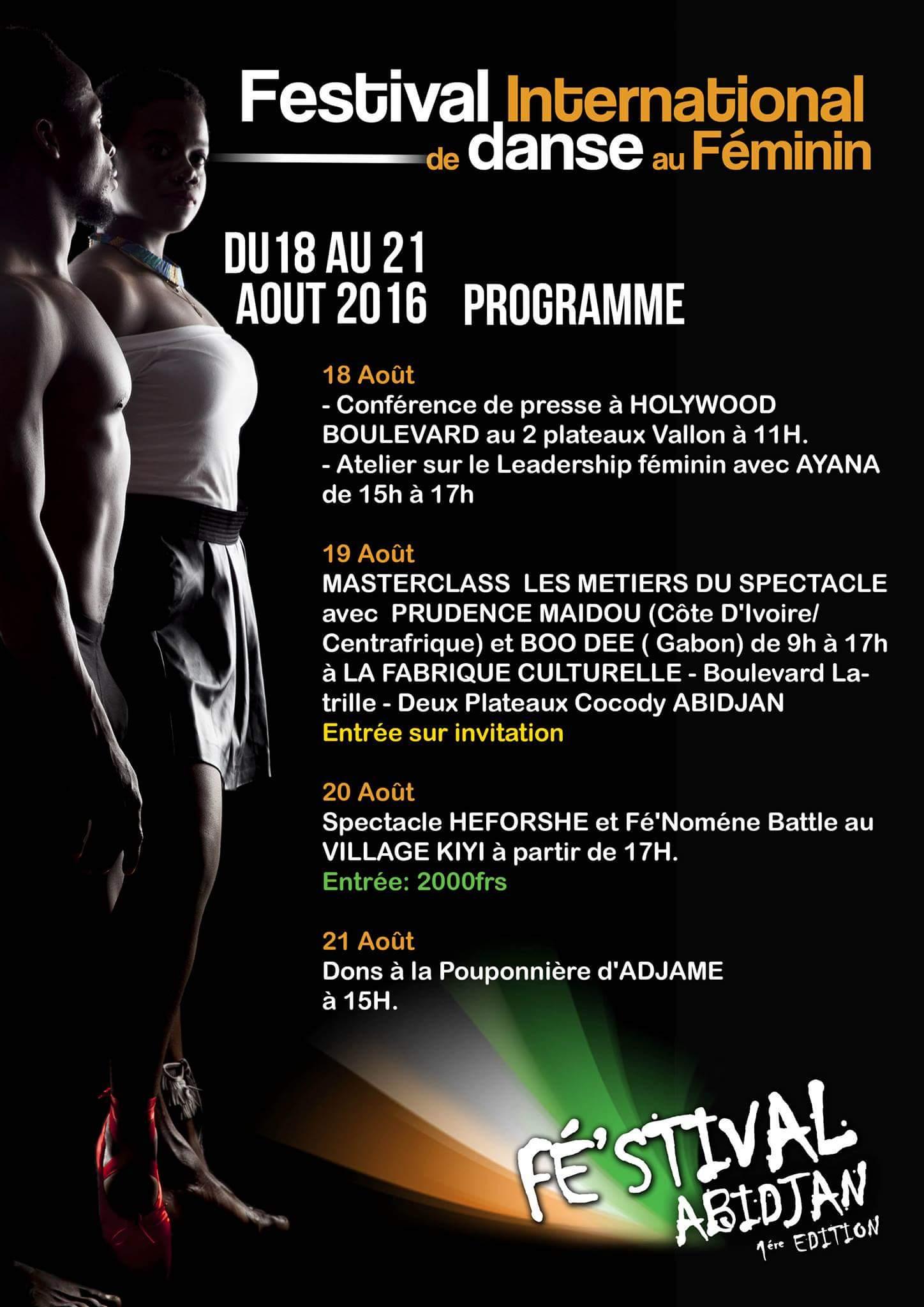 Le Festival International de Danse au Féminin se tient du 18 au 21 août 2016 à Abidjan