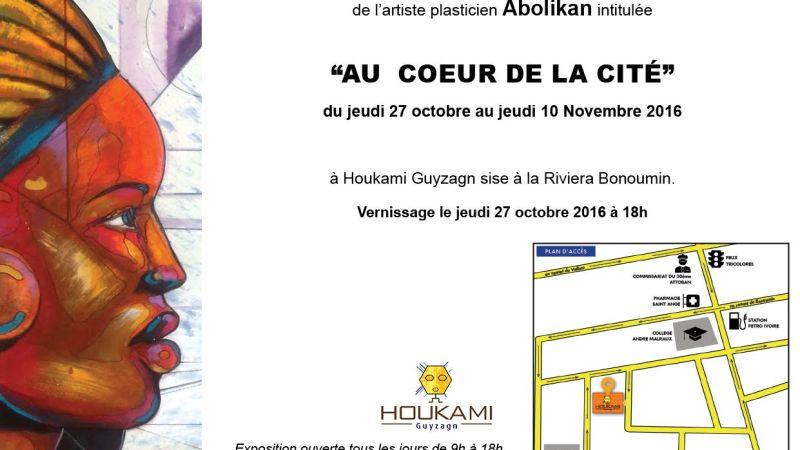 «Au cœur de la Cité», Première exposition personnelle de Abolikan à la Galerie Houkami Guyzagn