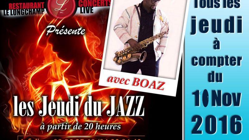 Retrouvez Boaz tous les jeudis au Restaurant Le Longchamps
