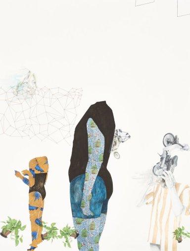 Ruby Onyinyechi Amanze The way you think is like a wing, 2015, série Alien, Hybrids and Ghosts, crayon à mine de graphite, encre, transfert photographique et laque métallisée, 127 x 96,52 cm Courtesy de l'artiste et de la Goodman Gallery