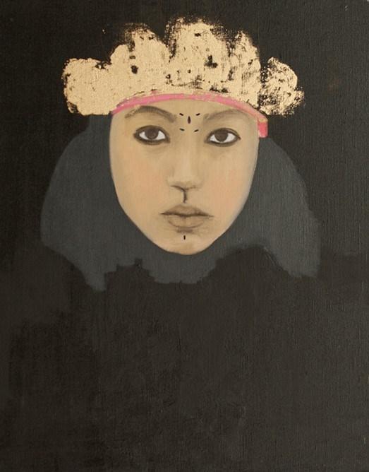 Dalila Dalléas Bouzar @ Galerie Cécile Fakhoury - Abidjan du 9.12 au 18.02.2017. Peinture ' Untitled #11 ', Série Princesse, 2015, huile sur toile, 50 x 40cm.