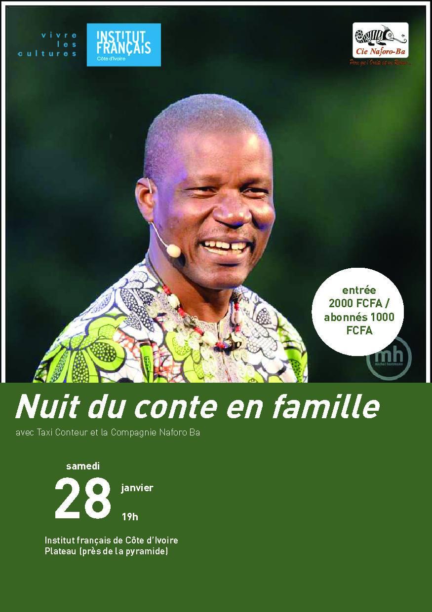 La Nuit du Conte avec Taxi Conteur se tiendra ce samedi 28 janvier 2017 dès 19h à l'Institut Français de Côte d'Ivoire