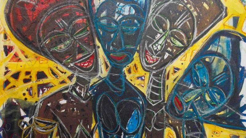 Vernissage de l'exposition «Un recours aux sources pour une introspection vraie» de Jean Baptiste Djeka ce 23 mars 2017 à la Galerie Houkami Guyzagn